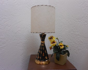 """50s Lamp Black & Gold Atomic Ranch/Rockabilly/MCM/ Modernist/Eames Era 22 KT Gold Splatter Paint 50s Lamp-Cool and Retro """"Googie"""" Accent"""