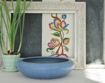 Vintage Blue Pottery Planter Bowl