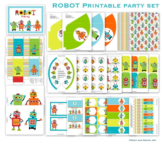 Robot Printable Party Set  - Birthday Banner,  Cupcake Toppers, Hats and more. Instant Download.