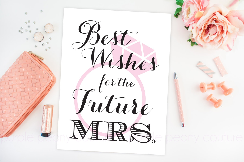 Bridal shower decoration future mrs sign poster printable for Wedding shower signs