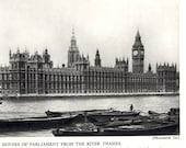 LONDON photograph of Houses of Parliament, 1935 antique London tourist photo, BW photo decor