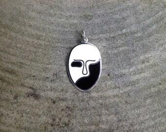 Champleve Enameled Phantom Opera Mask Pendant