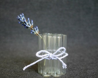Tiny rescued vintage glass vials. SET of 6.