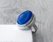 Lapis Lazuli Ring, Sterling Silver Statement Ring, Eclectic Oversize Big Ring, Navy Blue Gemstone Chunky Ring, One of A Kind, Size 8