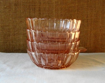 4 VINTAGE PINK GLASS Dessert Bowls Serving Bowls Ice Cream Bowls Mid Century Pink Glass Bowls