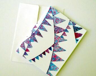 Purple Bunting Greeting Cards - Purple Ornate Pennants Notecards Set - Purple Watercolor Art Cards, Set of 8