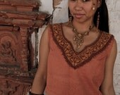 ON SALE Tribal Raw Silk top with Embroidery made of Raw Silk Brown Native Traditional Ethnic  Folk Natural