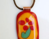 Flower Art Fused Glass Pendant, Red Flower Glass Pendant, Red and Orange Flower Patch Quilt Style Pendant