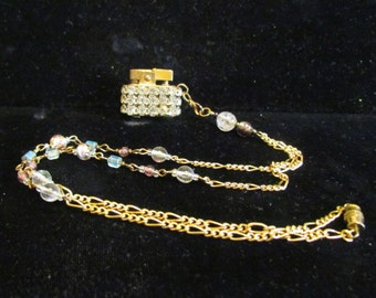 Vintage Rhinestone Lighter Necklace Removable Lighter Pendant Working Lighter Handmade Beaded Necklace