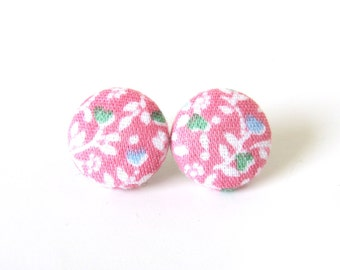 Pink fabric earrings - floral stud earrings - button earrings small white blue green - birthday gift -  present for her
