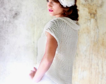 Ivory Shrug Wedding Bolero Occasions Hand Knitted Shrug Merino Wool Bolero