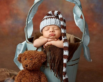 Newborn Baby Boy Stocking Hat. Boy Stocking Hat, Boy Long Tale Hat, Professional Photo Props, Birth Cards. Baby Blue, Brown. Baby Gift. Kids
