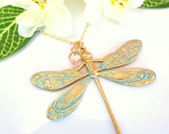 Light blue dragonfly Swarovski crystal necklace, whimsical dragonfly necklace, cottage chic bride wedding dragonfly necklace