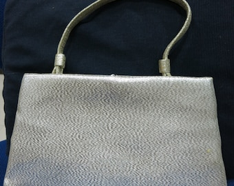 """Vintage Small Formal Evening Shiny Silver Textured Fabric Bag by """"AFTER FIVE"""" - Made in USA - Bridal, Wedding, Christmas & New Year"""