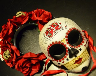 Poker Face Day of the Dead  Set Mask and Crown - Red roses Cards and Skulls Spider Webs hand painted -  Dia de los muertos