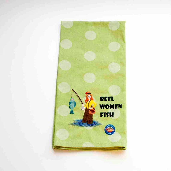 Reel Women Fish Tea Towel Embroidered By Charlenesembroidery