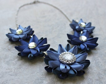 Blue Necklace, Navy Blue Necklace, Navy Necklace, Navy Blue Jewelry, Dark Blue Necklaces, Blue Flower Necklace, Blue Bridesmaid Necklace