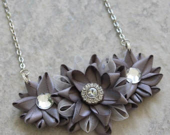 Silver Bridesmaid Necklace, Silver Statement Necklace, Silver Flower Necklace, Pewter Necklace, Gray Flower Necklace, Bridesmaid Jewelry
