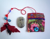 Lenny owl miniature totem  in  amulet bag pouch, art creature textile art, owl illustration, painted stone pebble by Wassupbrothers