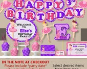 Girl Ballerina Birthday PartyDecorations, Ballet Party Supplies, Dance Birthday, Cake Topper, Invitation, Cupcake Toppers, Banner, Invite