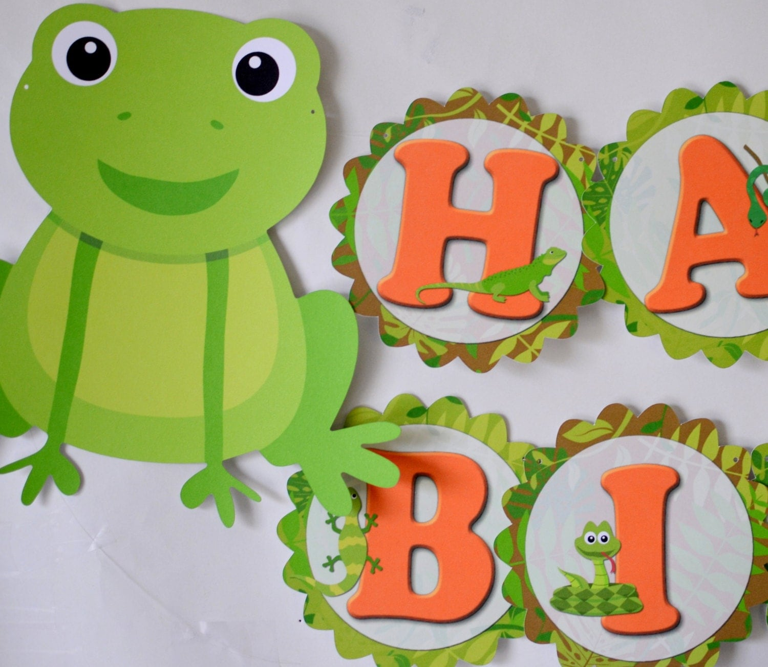 BANNER Reptile Birthday Party Decorations Frog Snake