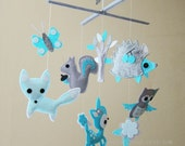 "Baby Crib Mobile - Baby Mobile - Baby Boy decorative Mobile - ""Baby Blue Animals in the Jungle"" (Pick your color)"