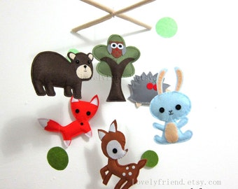 """Baby Mobile - Nursery Mobile - Brown Bear Wooland crib Mobile - """"Dark Brown Bear and His Friends """" Mobile  (Custom Color Available)"""