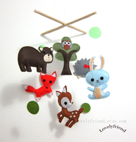"Baby Mobile - Nursery Mobile - Brown Bear Wooland crib Mobile - ""Dark Brown Bear and His Friends "" Mobile  (Custom Color Available)"