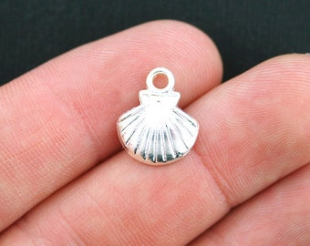 15 Shell Charms Silver Plated Scallop Shell - SC3715