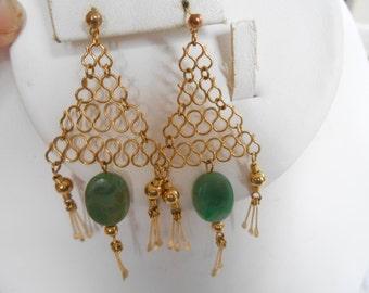 Vintage earrings, jade glass dangle earrings, mesh earrings, stud earrings, hiphop earrings, vintage jewelry