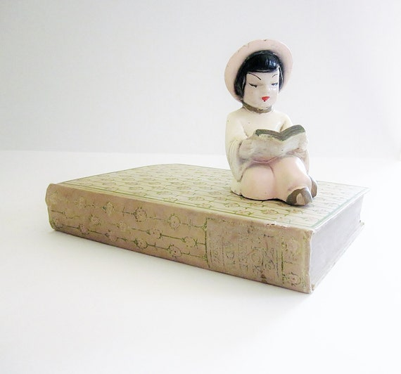 Studious Shelf Sitter Chalkware Collectible Figurine