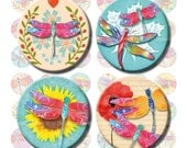 Dragonflies digital collage sheet 1 inch circles. Printable colorful pink blue dragonfly images. Instant download printables for pendants