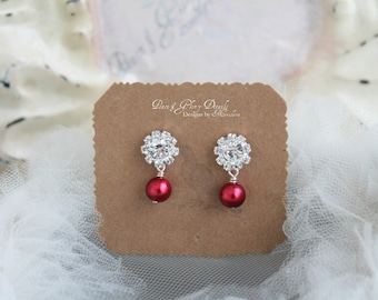 Red Jewelry - Ruby Red Pearl Rhinestone Earrings - Sterling Silver - Valentines Gifts - Bridal Bridesmaids Crystal Earrings