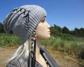 XXX Lace up Leather Corset Tie Gray Slouch Back Beanie Cable knit Hat Grey Cotton Tam A1387