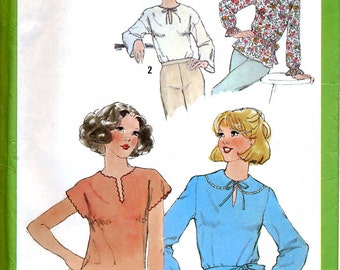 Simplicity 8565 Vintage 70s Misses' Pullover Tops and Tie Belt Sewing Pattern - Uncut - Size 10 - Bust 32.5