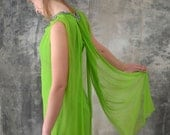 1960s Lime Green Silk Chiffon Dress
