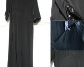 Black Crepe Cocktail Dress with Sequinned Collar and Gored Skirt 1930s Little Black Dress
