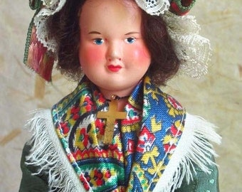 French Celluloid Auvergne costume doll, folk doll, vintage, Petitcollin, France, Massif Central