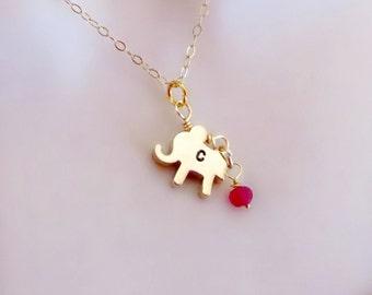 Elephant Necklace, Birthstone Necklace, Best Friend Necklace, Gift for Friend, Personalized Necklace, Letter Necklace, Strength Jewelry,
