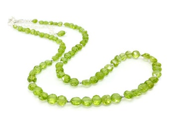 Peridot Necklace, Sterling Silver, Beaded Necklace, Peridot Jewelry, Green Stone, August Birthstone