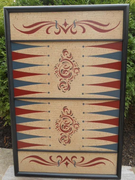 Primitive Wood Backgammon Game Board Folk Art  Gameboard