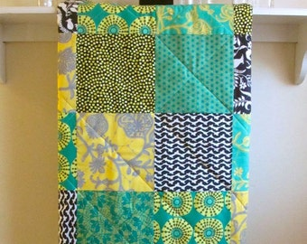 Baby Quilt - Lark - Crib Quilt, Flannel or Minky Back ,Jade Green, Yellow, Gray, Charcoal, Toddler Quilt, Amy Butler, Handmade, Homemade