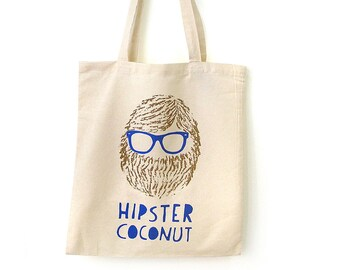 Coconut Tote Bag, Reusable Shopping bag, Handprinted by Olula, Hipster tote bag, Reusable bag, Eco-friendly, Canvas tote bag, Tote bags