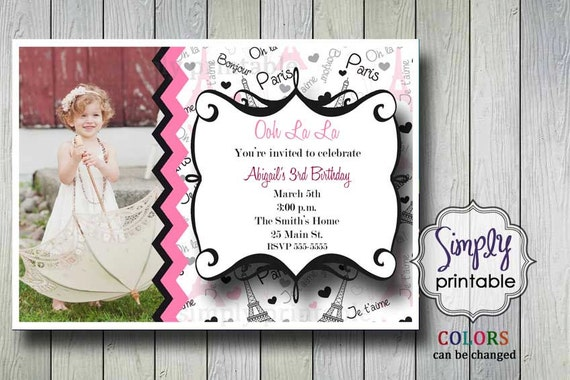 Paris Birthday Invitation with Photo (Printable)