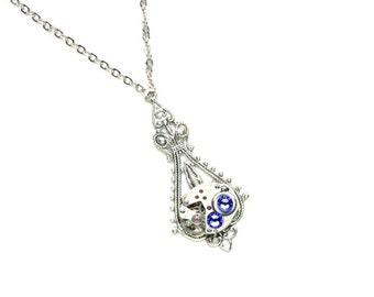 DECEMBER Steampunk Necklace, TANZANITE PURPLE Steampunk Wedding Necklace Silver Jewelry Victorian Steampunk Jewelry by Victorian Curiosities