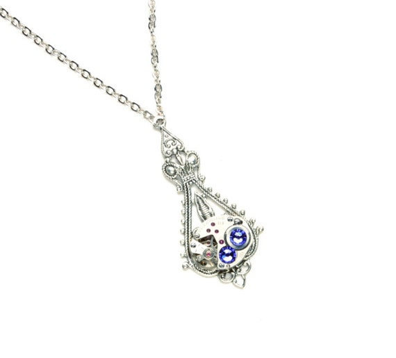 Steampunk Necklace in Silver with Tanzanite Purple December Birthstone Swarovski Crystals by Victorian Curiosities