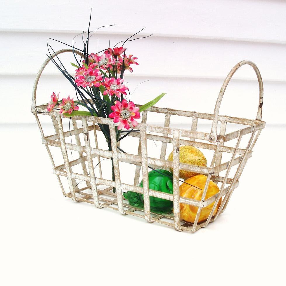 Vintage metal basket white centerpiece planter storage