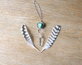 Quartz Crystal Pendant Necklace // Turquoise and Silver, Quartz Point Necklace, Gemstone Point Necklace, Quartz Jewelry