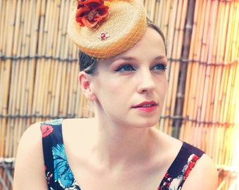 Bee in the Poppies yellow and orange vintage style small percher hat