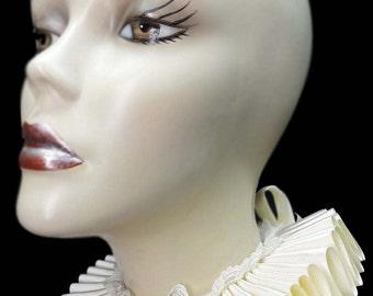 Ivory Satin And Lace Elizabethan Neck Ruff Ruffled Collar Victorian Steampunk Tudor